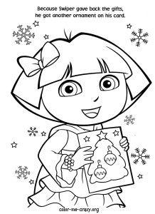 dora christmas coloring pages printable kidswebscom 6 - Detailed Christmas Coloring Pages