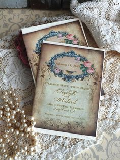 Wedding Save the Date Vintage Cards Handmade by AVintageObsession, $39.50