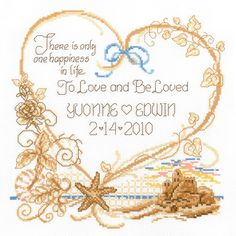 """Seaside Wedding Wedding Record Counted Cross Stitch Kit-7.5""""""""X8"""""""" 14 Count"""