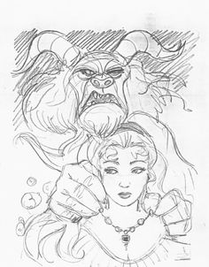 Concept art for Don Bluth's unmade project , Beauty and the Beast