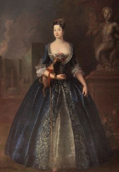 1728 Anna Karolina Orzelska, the illegitemate daughter of Augustus II of Saxony and Poland, is shown in a blue dress with silver trimmings. Anna was an 'adventuress' (was there ever a more evocative description) known for her be