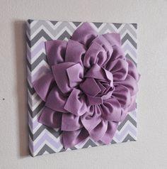 Baby Nursery Wall Decor Lilac Dahlia on Lilac and Gray by bedbuggs, $34.00