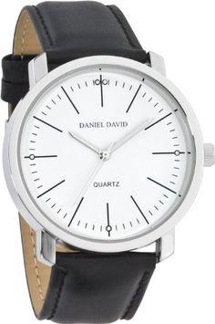 Daniel David Men's   Genuine Black Leather Band & White Dial   DD11803
