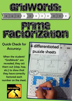 """differentiated practice for prime factorizaion / factor trees - If all prime factors are shaded or colored correctly, the """"GridWord"""" appears (clap, hop, etc.)  and the student can act it out or record it for the teacher to quickly check for accuracy."""