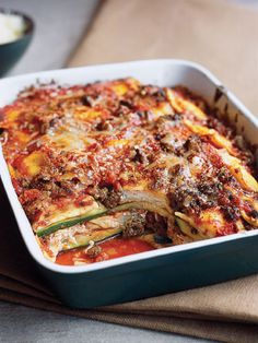 Ravioli and Zucchini Lasagna, use cheese ravioli to cut down on prep time. #zucchinirecipes