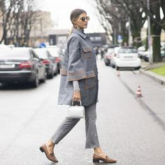 Pin for Later: 47 Easy-Breezy Spring Outfits You Can Wear to Work Tassled Flats and Gray, Bell-Shaped Separates