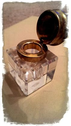 Mont Blanc crystal and brass inkwell from by ReLovedVintageLancs