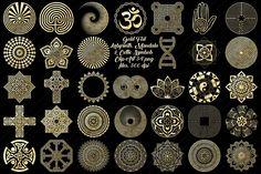 Gold Labyrinth,Mandala&Celtic Logos by FrankiesDaughtersDesign on Mandalas Painting, Mandalas Drawing, Zentangle, Graphic Illustration, Illustrations, Labyrinth, Behance, Celtic Symbols, Party Banners