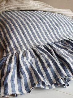 Nautic striped linen pillowcase with ruffles - long ruffles pillow sham - washed linen pillow slip - Standard Queen King linen pillow case Linen Duvet, Linen Pillows, Bed Linens, Boho Pillows, Style Nautique, Neutral Bed Linen, Toddler Girl Bedding Sets, Crib Sets, Ruffle Pillow