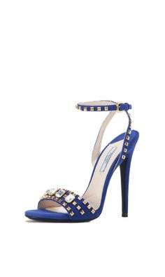 PRADA Suede Crystal Studded Sandal Open-Toe Heels in Cobalt Blue featuring gold studs and crystal jewel accents! Give your look a feminine edge with these!