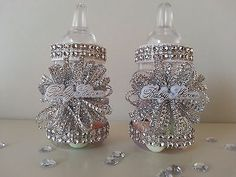 12 Silver Fillable Bottles for Baby Shower Favors Prizes Games Girl Decorations Baby Bottle Decorations, Girl Baby Shower Decorations, Girl Decor, Baby Shower Centerpieces, Baby Shower Themes, Baby Shower List, Baby Shower Diapers, Baby Shower Favors, Baby Boy Shower