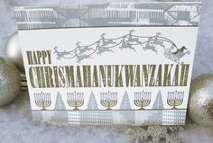 Chrismahanukwanzakah (Silver and Gold) - Letterpress Holiday Greeting Card Set - Christmas, New Years - #paisleydogpress