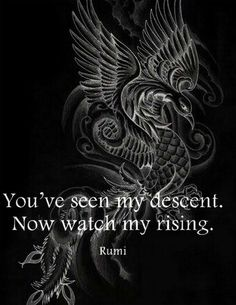 Rumi:Phoenix, out of the ashes will rise a magnificent bird cast of fire. Rumi Quotes, Positive Quotes, Motivational Quotes, Life Quotes, Inspirational Quotes, Crazy Quotes, Positive Attitude, Wisdom Quotes, Phoenix Quotes