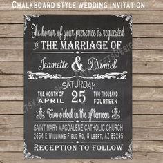 Chalkboard Wedding Sign Set - Chalkboard Wedding Invitation