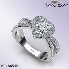 Heart Diamond Engagement Ring Certified By GIA, H Color & SI1 Clarity, 14k White Gold.