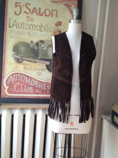 1970s brown suede fringe vest size small to medium by DollyDraper, $32.00
