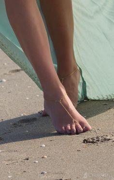 Dainty Gold Barefoot Sandals   Criscara