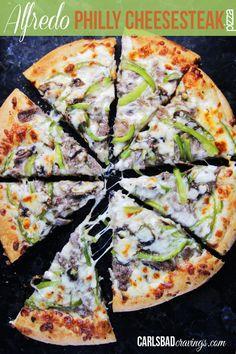 Alfredo Philly Cheesesteak Pizza | http://www.carlsbadcravings.com/alfredo-philly-cheesesteak-pizza/