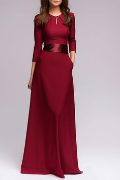 Solid Color Cut Out 3/4 Sleeves Sashes Maxi Dress