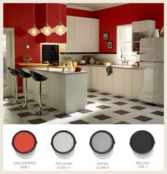 Nothing says #50s modernism like a checkerboard floor. Red, black and white are rockabilly hallmarks of classic 50s nostalgia #kitchen #BEHRPaint