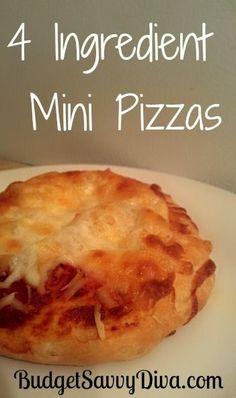 4 Ingredient Mini Pizza, #Easy, #Mini, #Pizza