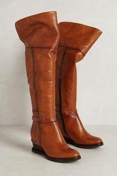Teak Wedge Boots