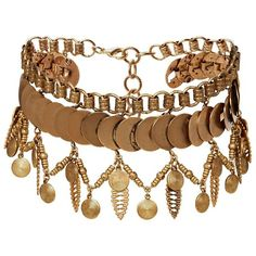 In 24 karat gold-plated brass, this coin charm choker features a fringing effect and mixed details for a distinctive look.  Adjustable length.  Lobster clasp c…