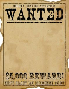 7 Best Images of Old West Wanted Posters Printable - Old West Wanted Poster Template Printable, Wild West Wanted Template and Old Western Wanted Poster Template Cowboy Theme, Cowgirl Party, Western Theme, Western Style, Wild West Theme, Wild West Party, Wild Wild West, Fête Peter Pan, Wanted Template