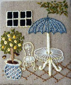 Resultado de imagem para Sadako Totsuka Herb Embroidery on Linen - 1 Herb Embroidery, Hand Embroidery Projects, Hand Embroidery Stitches, Silk Ribbon Embroidery, Embroidery Applique, Cross Stitch Embroidery, Embroidery Designs, Ribbon Embroidery Tutorial, Brazilian Embroidery