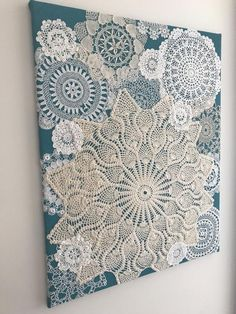 """Art Doilies Wall Hanging - """"Sea Breeze"""" - Large - Vintage Doilies on Burlap . Doily art wall hanging – """"sea breeze"""" – large – vintage doily on burlap – unique artwork, # Doilies Crafts, Lace Doilies, Crochet Doilies, Framed Doilies, Paper Doily Crafts, Framed Fabric, Home Crafts, Crafts To Make, Arts And Crafts"""