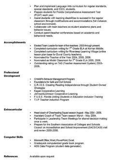 Sample Teacher Resume  Teacher Resume Summary