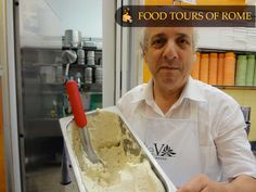 Chocolate gelato with double malt Gelato, White Chocolate, Rome, Ice Cream, Tours, Stuffed Peppers, Cheese, Desserts, Pink