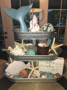 #Beach themed center piece. I love this 3 tiered tray! I change it out for each big holiday or season! It's such a fun project! #DIY #HomeDecor #CenterPiece