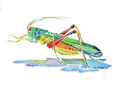 Jo Lynch - Whimsical Grasshopper  Painting  - Whimsical Grasshopper  Fine Art Print
