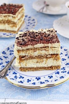 Tiramisu made in the style of an eclair cake with layers of mascarpone cream between coffee-soaked graham crackers.
