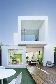Home design, Best Green House Architecture With Modern Design White Color Cube Shape And Minimalist Design: Awesome green architecture desig. Modern Architecture Design, Green Architecture, Facade Design, Small House Design, Modern House Design, Container Home Designs, Modular Housing, Futuristic Home, Zaha Hadid Architects
