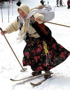 POLAND-SKIT, A lady dressed in a 19th century outfit and using old wooden skis takes part in a ski competition in Zakopane, POLAND, (JANEK SKARZYNSKI/AFP/Getty Images)