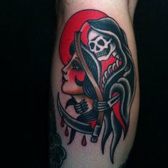 Reaper Girl by Andrew Mcleod, Chapel Tattoo, Melbourne.