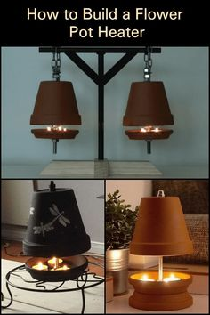These DIY flower pot heaters are functional and decorative in nature. Clay Pot Crafts, Home Crafts, Diy And Crafts, Emergency Preparedness Kit, Survival Prepping, Survival Gear, Survival Skills, Diy Flowers, Flower Pots