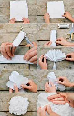 diy: tissue paper pom poms for the gender reveal party! Crucial to remember to trim the ends.