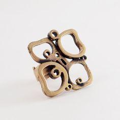 Modernist Finland Pentti Sarpaneva Clover Ring Bronze Scandinavian Vintage 1960s
