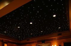 Fiber optic star ceiling - how cool for a tv room! Starry Ceiling, Star Lights On Ceiling, Eclectic Ceiling Lighting, Fiber Optic Ceiling, Star Themed Nursery, Star Wars Bedroom, Star Wars Design, Home Theater Rooms, Custom Lighting