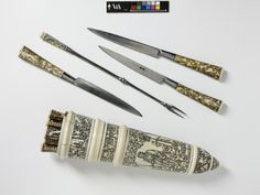Cutlery set Place of origin:Germany (made) Date:ca. 1560 (made) Artist/Maker:Unknown (production) Materials and Techniques:Engraved steel and ivory Museum number:2165 to M-1855 Gallery location:Metalware, room 116, case DR7 V&A Images