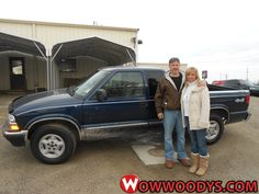 "James and Julie Blakely from Cairo, Missouri purchased this 2000 Chevrolet S10  and wrote, ""Everyone was very friendly and helpful, Polly and Neva were excellent. Great customer service- easy to deal with great service on a very busy day."" To view similar vehicles and more, go to www.wowwoodys.com today!"
