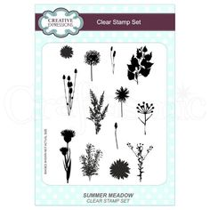 Creative Expressions Stamp Set by Lisa Horton - Summer Meadow Clear Stamps, Decoupage, Christmas Crafts, Hair Accessories, Sue Wilson, Creative, Finger, Lisa, Cards