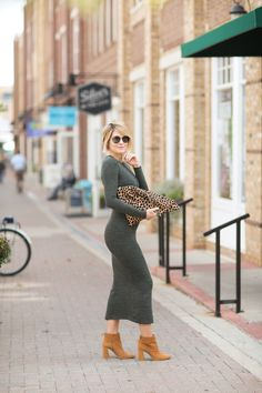 Seersucker and Saddles. Olive long sleeved knitwear midi dress+camel ankle boots+leopard print clutch+sunglasses. Fall Outfit 2016