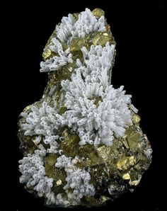 Calcite crystals coated with Quartz on golden Chalcopyrite - Romania