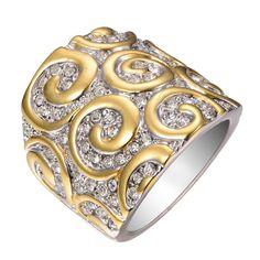Anel Feminino Importado Prata com detalhes em Ouro 18k e Pedras de Safira