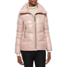 Moncler Joux High-Neck Puffer Jacket featuring polyvore, women's fashion, clothing, outerwear, jackets, light pink, puffy jacket, high neck jacket, puffer jacket, pink jacket and light pink jacket