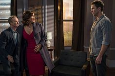 Benson donning a red dress in Psycho/Therapist. Tamara Tunie, Dean Winters, Richard Belzer, Stephanie March, Diane Neal, Danny Pino, Olivia Benson, Mariska Hargitay, Law And Order
